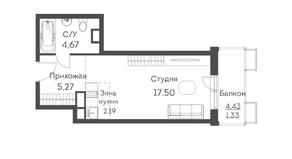 ЖК «Аквилон Митино», планировка студии, 30.96 м²