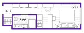 Апарт-отель «Putilov Avenir», планировка студии, 20.36 м²