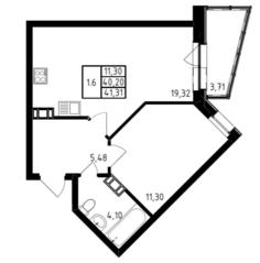 ЖК «Медем», планировка 1-комнатной квартиры, 41.31 м²