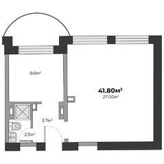 ЖК «Швецова 4», планировка 1-комнатной квартиры, 41.80 м²