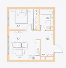 ЖК «Малоохтинский, 68», планировка 1-комнатной квартиры, 38.31 м²