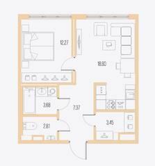 ЖК «Малоохтинский, 68», планировка 1-комнатной квартиры, 48.18 м²