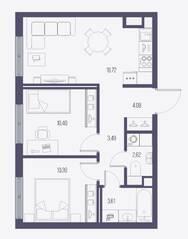 ЖК «Малоохтинский, 68», планировка 2-комнатной квартиры, 52.64 м²