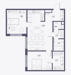 ЖК «Малоохтинский, 68», планировка 2-комнатной квартиры, 75.08 м²