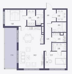 ЖК «Малоохтинский, 68», планировка 2-комнатной квартиры, 93.84 м²