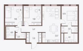 ЖК «Малоохтинский, 68», планировка 3-комнатной квартиры, 82.64 м²