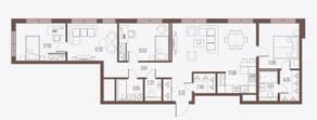 ЖК «Малоохтинский, 68», планировка 3-комнатной квартиры, 108.83 м²