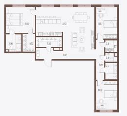 ЖК «Малоохтинский, 68», планировка 3-комнатной квартиры, 135.52 м²