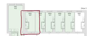 Апарт-отель «Loft Нагорная», планировка студии, 16.80 м²