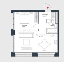 МФК «Ривер Парк», планировка 1-комнатной квартиры, 46.40 м²