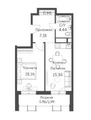 ЖК «Аквилон Митино», планировка 2-комнатной квартиры, 46.27 м²