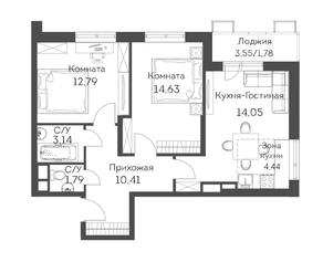 ЖК «Аквилон Митино», планировка 3-комнатной квартиры, 63.03 м²