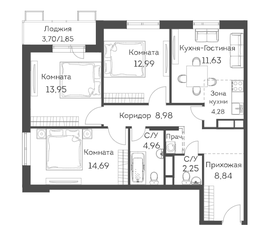 ЖК «Аквилон Митино», планировка 4-комнатной квартиры, 84.42 м²