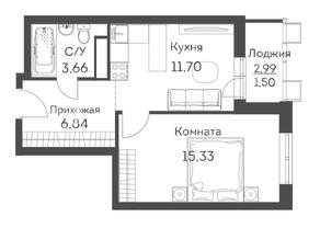 ЖК «Аквилон Митино», планировка 1-комнатной квартиры, 39.03 м²