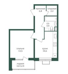 ЖК «Зеленая вертикаль», планировка 1-комнатной квартиры, 38.40 м²