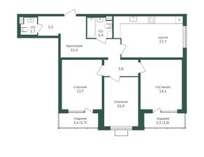 ЖК «Зеленая вертикаль», планировка 3-комнатной квартиры, 83.00 м²