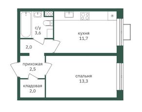 ЖК «Зеленая вертикаль», планировка 1-комнатной квартиры, 35.00 м²
