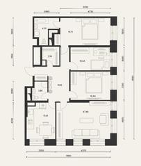 ЖК «Домашний», планировка 4-комнатной квартиры, 121.00 м²
