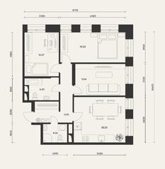 ЖК «Домашний», планировка 3-комнатной квартиры, 94.00 м²