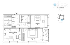 ЖК «Авиатика», планировка 2-комнатной квартиры, 62.70 м²