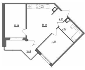 МЖК «Счастье 2.0», планировка 2-комнатной квартиры, 51.61 м²