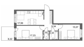 МЖК «Счастье 2.0», планировка 2-комнатной квартиры, 67.36 м²