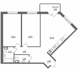 МЖК «Счастье 2.0», планировка 2-комнатной квартиры, 78.26 м²