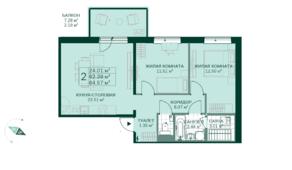 ЖК «Gröna Lund», планировка 2-комнатной квартиры, 64.57 м²