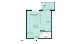 ЖК «Gröna Lund», планировка 1-комнатной квартиры, 45.63 м²