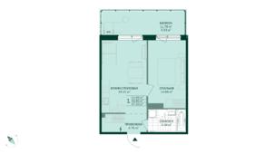 ЖК «Gröna Lund», планировка 1-комнатной квартиры, 47.33 м²