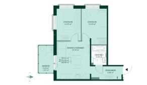 ЖК «Gröna Lund», планировка 2-комнатной квартиры, 56.96 м²
