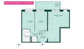 ЖК «Gröna Lund», планировка 2-комнатной квартиры, 69.21 м²