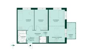 ЖК «Gröna Lund», планировка 3-комнатной квартиры, 68.87 м²