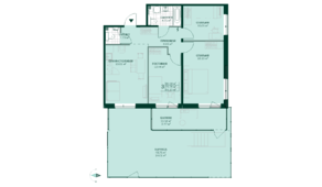 ЖК «Gröna Lund», планировка 3-комнатной квартиры, 91.23 м²