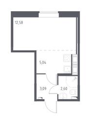 ЖК «Новое Колпино», планировка студии, 23.31 м²