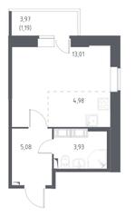 ЖК «Новое Колпино», планировка студии, 28.19 м²