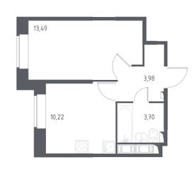 ЖК «Новое Колпино», планировка 1-комнатной квартиры, 31.39 м²