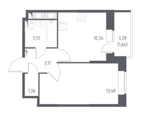 ЖК «Новое Колпино», планировка 1-комнатной квартиры, 33.56 м²