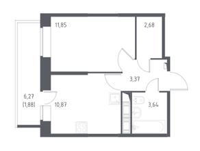 ЖК «Новое Колпино», планировка 1-комнатной квартиры, 34.29 м²