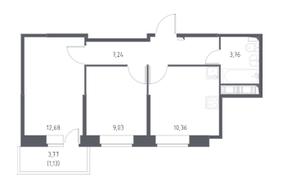 ЖК «Новое Колпино», планировка 2-комнатной квартиры, 44.20 м²