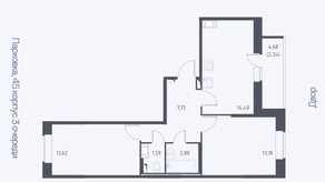 ЖК «Новое Колпино», планировка 2-комнатной квартиры, 55.65 м²