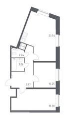 ЖК «Новое Колпино», планировка 2-комнатной квартиры, 63.80 м²