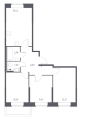 ЖК «Новое Колпино», планировка 3-комнатной квартиры, 60.79 м²