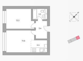 ЖК «Бригантина», планировка 2-комнатной квартиры, 41.20 м²