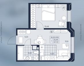 ЖК «AKZENT», планировка 1-комнатной квартиры, 37.72 м²