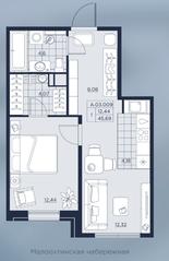 ЖК «AKZENT», планировка 1-комнатной квартиры, 45.69 м²