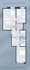 ЖК «AKZENT», планировка 2-комнатной квартиры, 80.25 м²