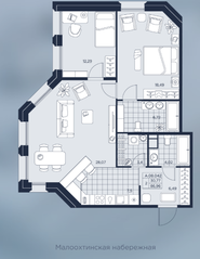 ЖК «AKZENT», планировка 2-комнатной квартиры, 86.96 м²
