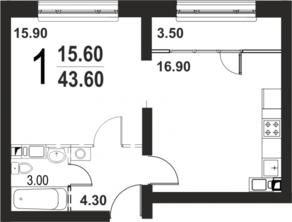 ЖК «Серебро», планировка 1-комнатной квартиры, 43.60 м²