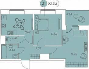 ЖК «Аквилон Stories», планировка 2-комнатной квартиры, 52.02 м²